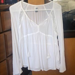 Old Navy White Peasant Top